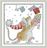 NKF Cross Stitch Kit, My gift collection, 11CT Counted, 24cmX25cm or 9.36