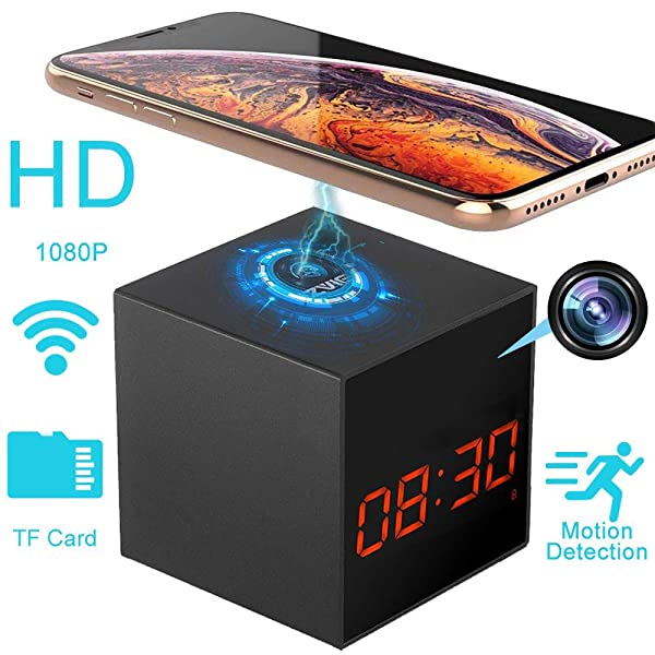LIZVIE Hidden Camera Wireless Spy Cam Clock with Fast Charger for Home Security Monitor Video Recorder HD 1080p Night Vision (Color: Camera Clock)