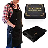 Shop Apron - Waxed Canvas Work Apron with Pockets | Waterproof, Fully Adjustable to Comfortably Fit Men and Women Size S to XXL | Tough Tool Apron to Give Protection and Last a Lifetime (Light Black) (Color: Light Black)