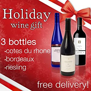 Buy holiday wine gift baskets - Valencia Wine Co. Christmas Wine Gift - Makes A Perfect Gift Basket For Christmas Dinner - Holiday Dinner Pairing - 3 Bottles Of Wine - 1 Bottle Of Each - Cotes Du Rhone, Bordeaux & Reisling Red Wine