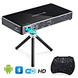 VANKYO Passport M50 DLP Smart Mini Portable Projector, 100 ANSI Lumens w/Andriod 7.1 OS Pre-Installed, WiFi, HDMI, USB Micro SD Ports Free Mini Wireless Keyboard Tripod (Color: 1-White)