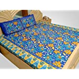 Double Bed Sheet Cotton Blue Printed Floral 90 X 105 In Flat Sheet CERE514
