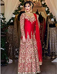 Snapyshopy Designer Red colord Emboidered Work & Mirror Work Banglori Silk Anarkali Suit