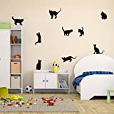 Amaonm Removable DIY Cute Cartoon Black Cat Wall Decor Kids room Wall Sticker Lovly Playing Cat Wall Decals Peel Stick FOR Girls Children Bedroom Classroom Nursery Room Wall Corner (3057cm) (Color: Black, Tamaño: 30*57cm)