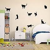 Amaonm Removable DIY Cute Cartoon Black Cat Wall Decor Kids room Wall Sticker Lovly Playing Cat Wall Decals Peel Stick FOR Girls Children Bedroom Classroom Nursery Room Wall Corner (3057cm) (Color: Black, Tamaño: 30*57cm)