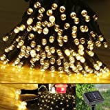 LE Solar Fairy String Lights 100 LEDs 49ft 15m, Waterproof, Warm White, Christmas Lights with Light Sensor, Outdoor and Indoor Use, Wedding, Party, Halloween Lights Decoration