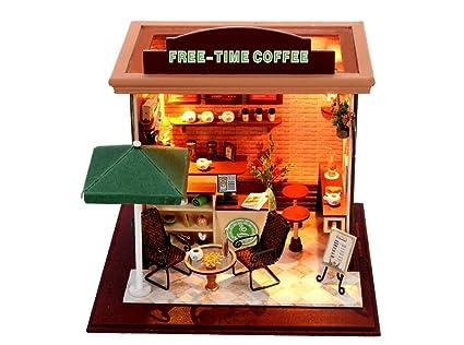 Maison De PoupéesCoffee shop poupée maison Mini maison meubles Kit décoration maison artisanat cadeau en bois poupées salle
