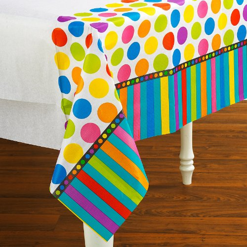 Amscan Dots and Stripes Birthday Tablecover