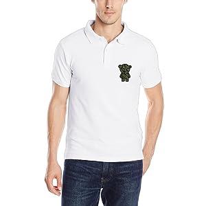 Military Bear Stylish Mens Short Sleeve Tops Golf Slim Fit Polo Shirts