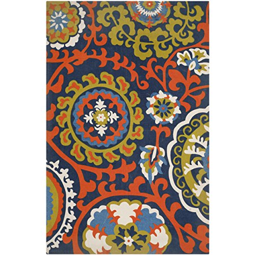 Safavieh Cedar Brook Collection CDR132A Handmade Light Blue and Orange Cotton Area Rug, 6 feet by 9 feet (6' x 9')