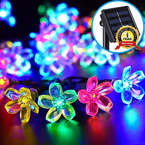 #1 Outdoor Solar String Lights, E-TRENDS Flower 50 LED 23ft Multi-color Solar Powered Waterproof Decorative Christmas Fairy Blossom Light for Indoor Party,Wedding Decoration,Patio,Garden,Tree Decor