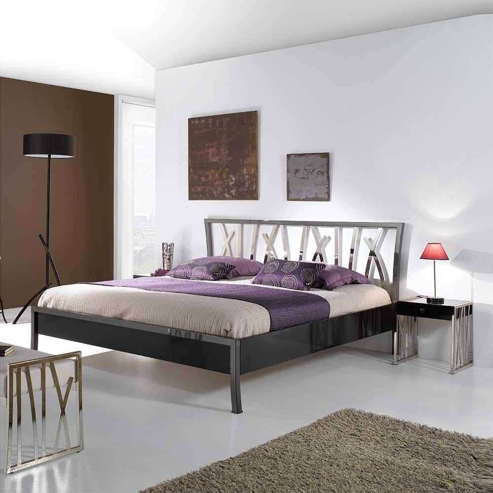 Designerbett aus Metall modern Breite 153 cm Liegefläche 140×200 Pharao24 günstig