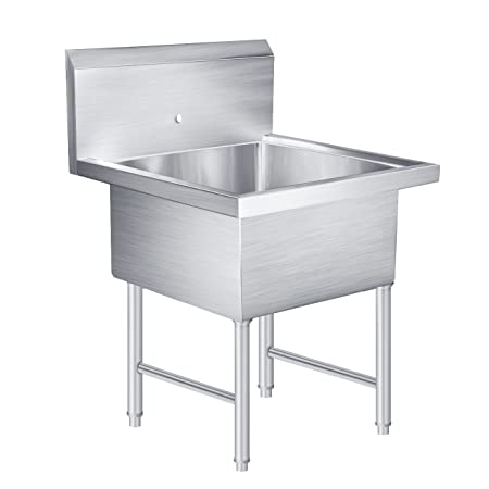 BEAMNOVA 1 Compartment Stainless Steel Commercial Kitchen Prep & Utility Sink - 30 in. Wide