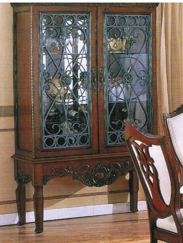 Cheap Curio China Cabinet with Glass Doors Brown Cherry Finish (VF_AZ00-39482×21599)