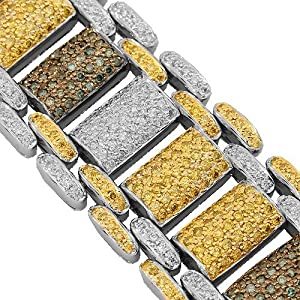 14K White Gold Mens Diamond Bracelet with Blue and Yellow Diamonds 23.35 Ctw