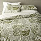 Crate & Barrel Marimekko Eden King Duvet Cover Sage Green, Creamy White