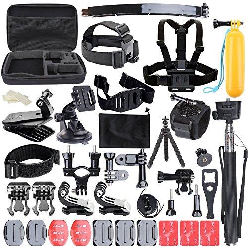 ccbetter 50 in 1 macchina fotografica di azione di sport Accessori per GoPro Eroe 4 Sessione Eroe 1 2 3 3+ con ccbetter CS710 CS720W + SJ4000 5000 6000 7000 Xiaomi Yi con valigetta nera