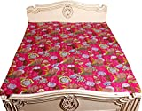 Kantha Stitch Quilt Floral Print Single Bedspread & Bed Cover Bohemian Bedding Kantha Pink 60x90 Inches