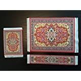 Set Red Woven Rug Mouse Pad + Rug Coaster + Rug Bookmark - Persian Style Carpet Mousemat Miniature Rug