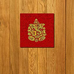 999Store doorhanging golden ganesha printed wooden framed door sticker (4 x 4 inches)