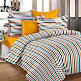 Story@Home 208 TC 100% Cotton Multicolor 1 Single Bedsheet with 1 Pillow Cover