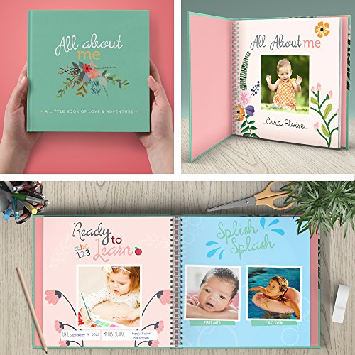 First Year Baby Memory Book & Baby Journal. Modern baby shower gift & keepsake for new parents to record photos & milestones. Five year scrapbook & picture album for boy & girl babies. (Floral)