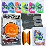 Henry's Lizard YoYo Orange with Tricks Book & Gator String Bundle - 3 Items (Purple String)