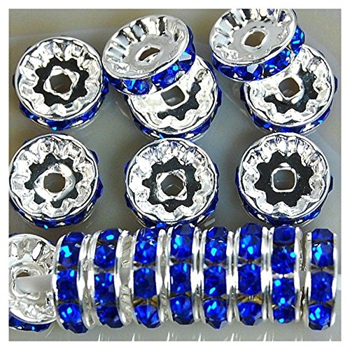 6mm 8mm 10mm 12mm 100pcs Czech Crystal Rhinestone Silver Rondelle Spacer Beads Color:Sapphire Qty:4x100pcs Size:10mm (Great Lakes 202 compare prices)