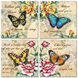 4 Beautiful Butterflies and Flowers Inspirational Quotes Butterfly Art Prints 12x12