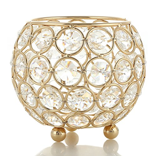 VINCIGANT Gold Crystal Hurricane Tea Light Candle Holders for Wedding Centerpieces 4 Inch Diameter