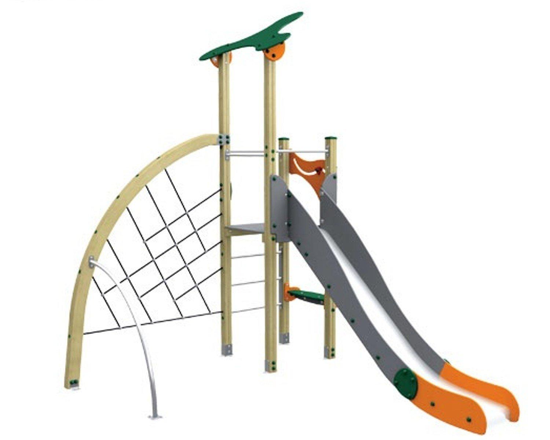 Spielturm MODERN II mit Rutsche und Kletterwand - für öffentliche Spielplätze & Einrichtungen