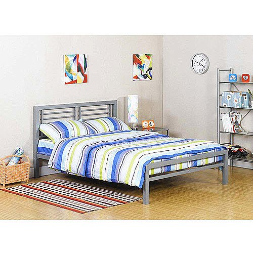 Ideal Bed Metal Frame for Kids Bedroom Teenager and Dorm Color Silver Size full It is the bed under the loft bed