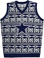 Forever Collectibles NFL Dallas Cowboys Ugly Sweater Vest, Medium, Blue