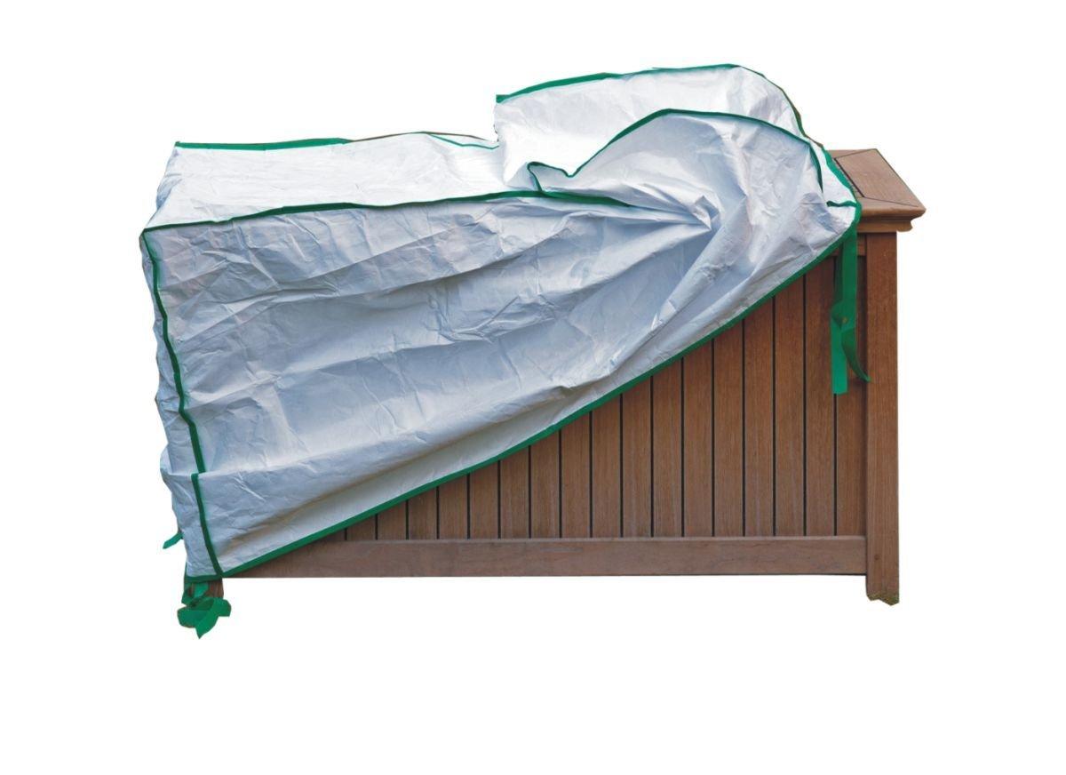 Abdeckung für Gartenmöbelauflagentruhe exklusiv in Tyvek weiss mit Lagerbeutel Größe B.140cm x.T.60cm x.H.80cm