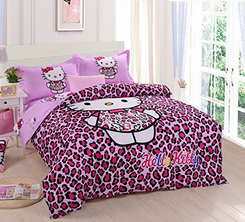 Lt Queen King Size 100% Cotton 4-Pieces Red Black Purple Leopard Skin Hello Kitty Prints Girls Princess Character Cartoon Kids Gift Bedding Duvet Cover Set/Bed Linens/Bed Sheet Sets/Bedclothes/Bedding Sets/Bed Sets/Bed Covers/Bedroom Sets/5-Pieces Comfort front-885248