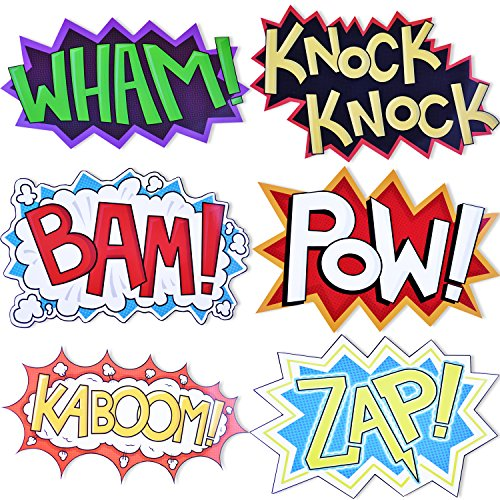 Superhero Party Cardboard Superhero Sounds Sayings Word Cutouts ( 6 different pcs in 1), 16,5''x 11'' per word, BAM POW WHAM ZAP KABOOM KNOCK-KNOCK, Superhero theme birthday supplies (Iron Man Invitations compare prices)