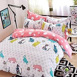 CASA Children 100% cotton series Cat party Duvet cover & Pillow case & Flat sheet,3 Pieces,Twin