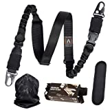 Antila Favorite 2 Point Rifle Sling Durable, Adjustable, High Impact Strap Shoulder Pad Strong Large Metal Clips + Bandana + Gift Box 2 Skill Improvement eBooks (Color: Black)