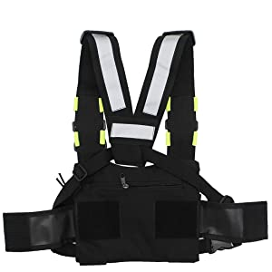 GoodQbuy Universal Radio Harness Chest Rig Bag Pocket Pack Holster Vest Fluorescent Green for Two Way Radio (Rescue Essentials) (Color: Fluorescent green)