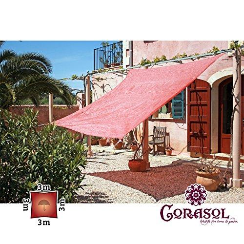 Corasol COR11SQ3-RR - Vela de sombra para patio (resistente al agua), color rojo, 3 x 3 m