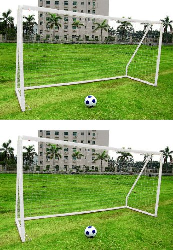2 x Kinder-Fußballtor - 3,04 x 1,83 m - inkl. Netz - Kunststoff weiß - tragbar