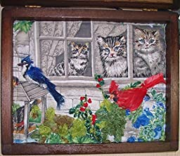 How Much is That Kitty in the Window. 10 x 8 x1 3/4 Deep Art Quilt in Vintage Shadow Box Ribbon & Stump Embroidery.