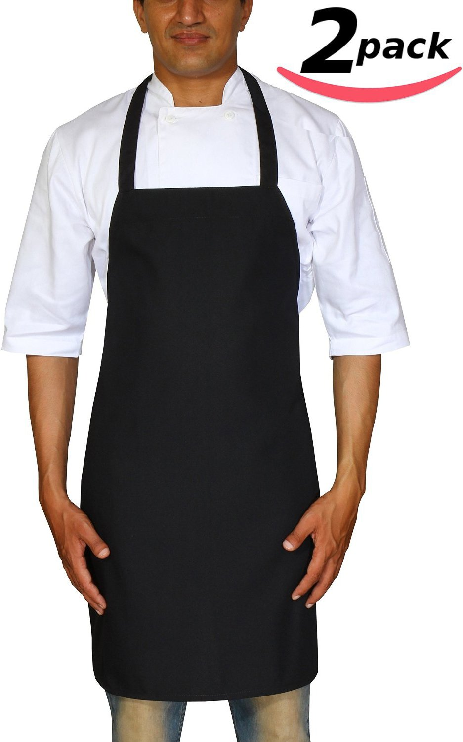 "Bistro-Garden-Craftsmen Professional Bib Apron Black Spun Polyester - Set of 2, Durable, Comfortable, Easy Care, Restaurant Commercial Waitress Waiter Aprons - Black (32"" x 28"") by Utopia Wear"