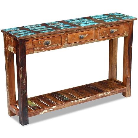 vidaXL–VidaXL mesa consola aparador armario casa sólida de madera 120x 30x 76cm