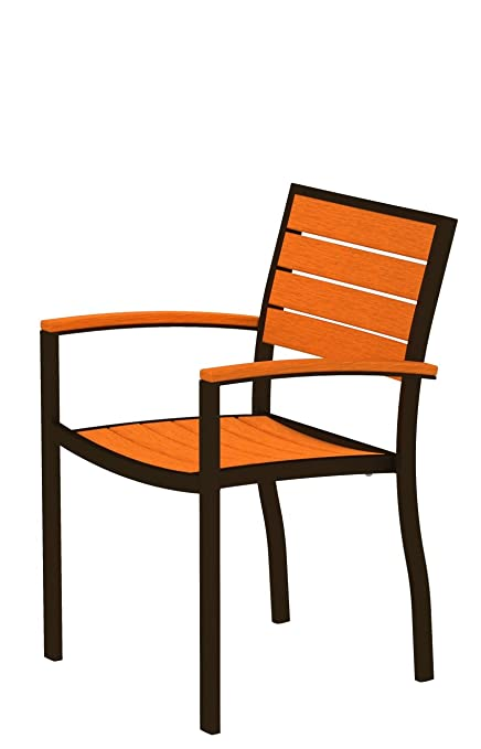 POLYWOOD A200-16TA Dining Arm Chair, Euro, Textured Bronze/Tangerine