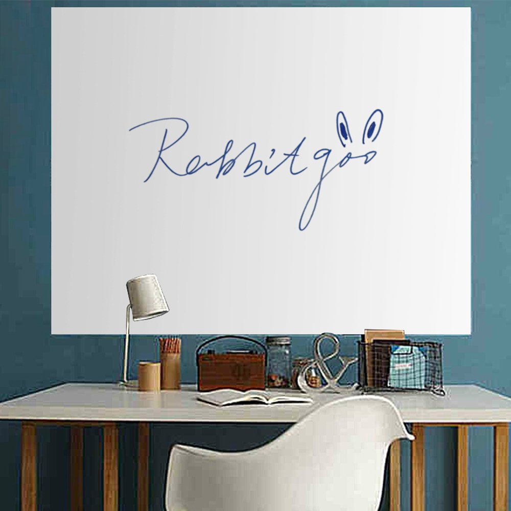 Rabbitgoo Wall Sticker Wall Paper Thick Whiteboard Sticker Chalkboard Contact Paper (White) 17.5 by 77.9 Inches with 1 Free Marker Pen Attention: Strong Glue itself & Be Careful of Damage to the Wall
