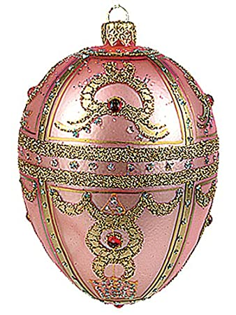 Faberge Inspired Pink Royal Braid Egg Polish Mouth Blown Glass