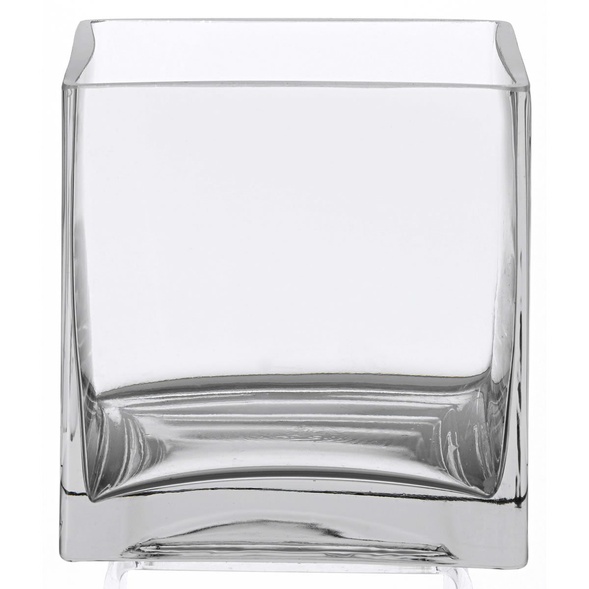 6 clear glass square vases