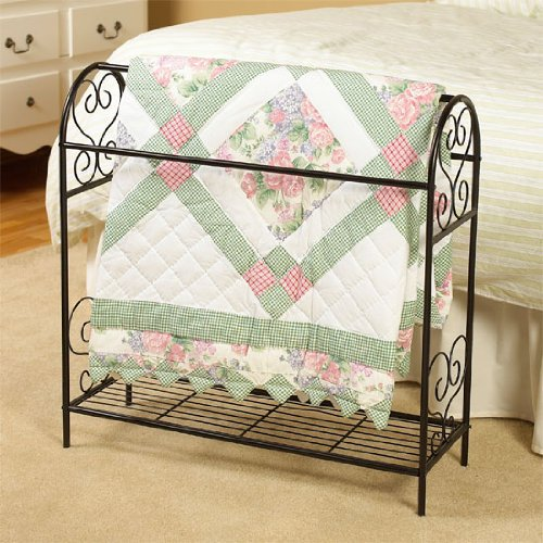 New SCROLL DESIGN METAL QUILT RACK WITH SHELF - BLACK