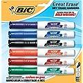 BIC Great Erase Grip Chisel Dry Erase Marker, Chisel Tip, Assorted, 6 Dry Erase Markers (GDEMP61-Ast)